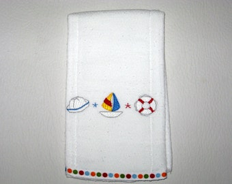 Baby Burp Cloth  Embroidery Sailing