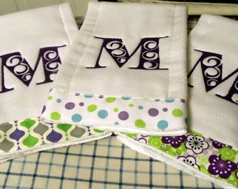 Embroidered Swirl Alphabet Burp Cloths with Floral Polka Dots Diamond Ribbons