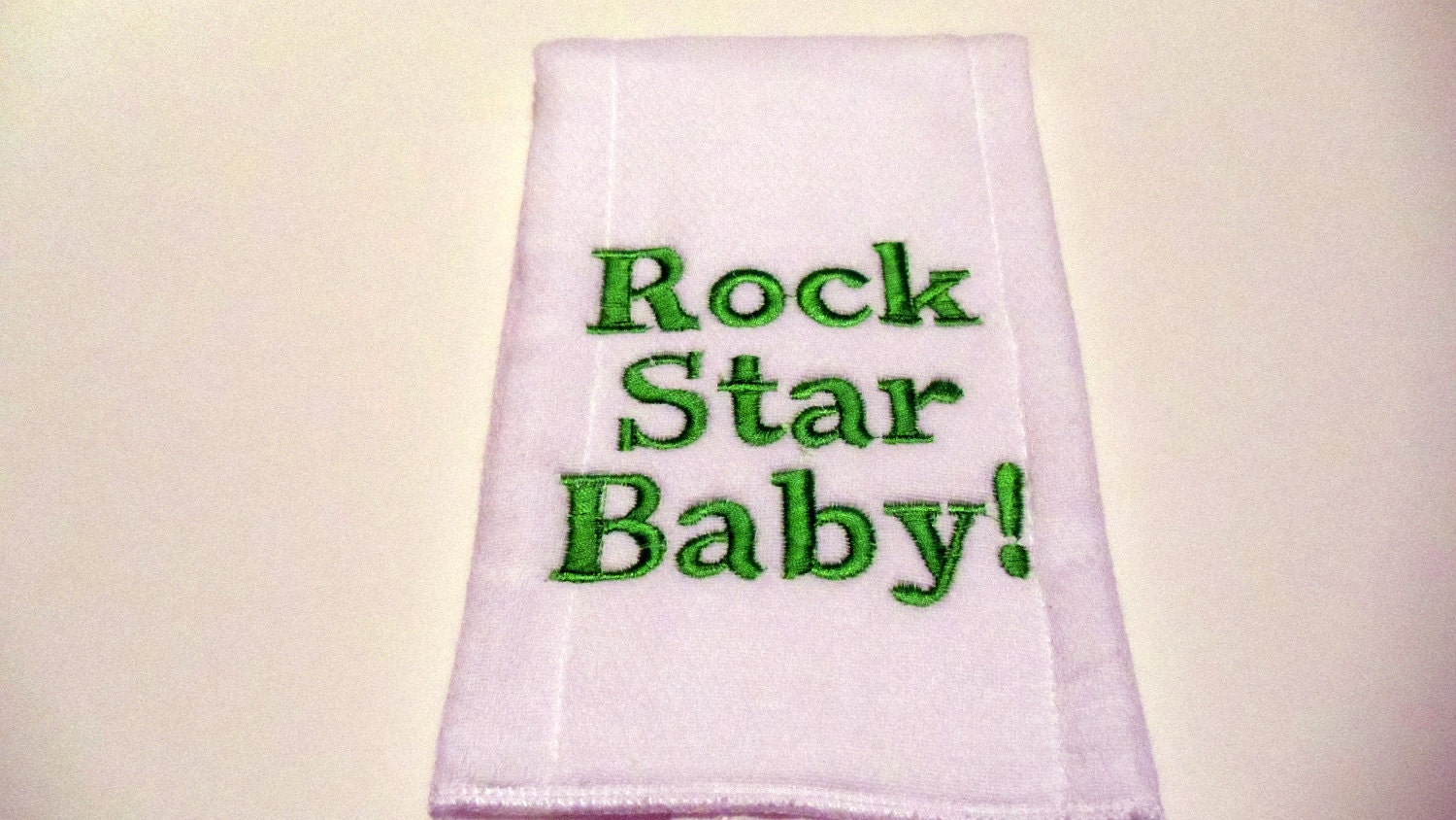 embroidered burp cloth rock star baby in green. Black Bedroom Furniture Sets. Home Design Ideas