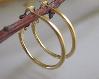 Gold hoop earrings, Gold earrings, Small size gold hoop earrings, Gold tube hoops, 18k gold plate hoops