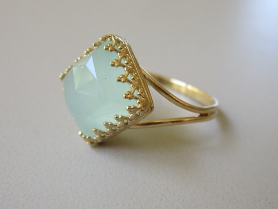 Aqua mint amazonite ring, Mint stone ring, Gold ring, Vintage ring,  Square ring, 10 mm, amazonite ring, 14k gold ring, cocktail ring