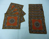 10 Matching Retro Paisley Cocktail Napkins  -  Reduced to Sell