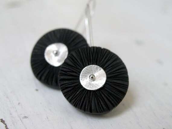 Black polymer clay disc earrings, texture, wavy, wheels,  on sterling silver earwires