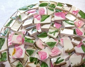 VINTAGE Franciscan Desert Rose MOSAIC Tiles Broken China Cottage Chic 50 PlusTiles