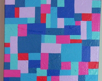 Geometric Mosaic - Original Abstract Acrylic Painting - 8 x 8
