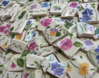 MOSAIC Tiles Broken China Floral English Cottage Garden - 50 Tiles