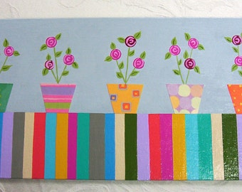 Folk Art Collage Painting - Bright Colorful Flowers Rainbow