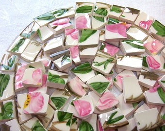 VINTAGE Franciscan Desert Rose MOSAIC Tiles Broken China Cottage Chic 100 PlusTiles