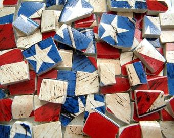 Mosaic Tiles - Broken China - Americana Flag Tiles - Designer Plates