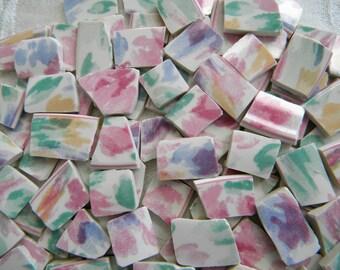 Broken China MOSAIC Tiles - WATERCOLOR Splash - 100 Tiles - Recycled Plates