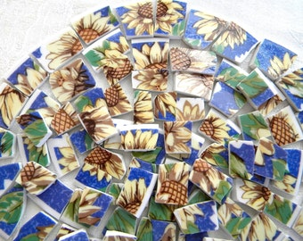 Broken China Mosaic Tiles - SUNFLOWERS - Recycled Plates - 100 Tiles