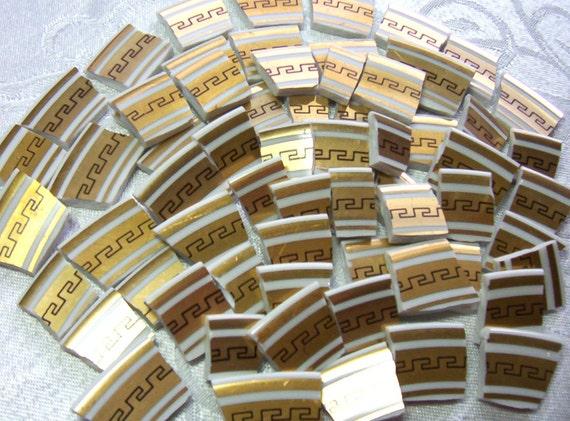 Broken China Mosaic Tiles - Gorgeous GOLD Greek Scroll - Last Set
