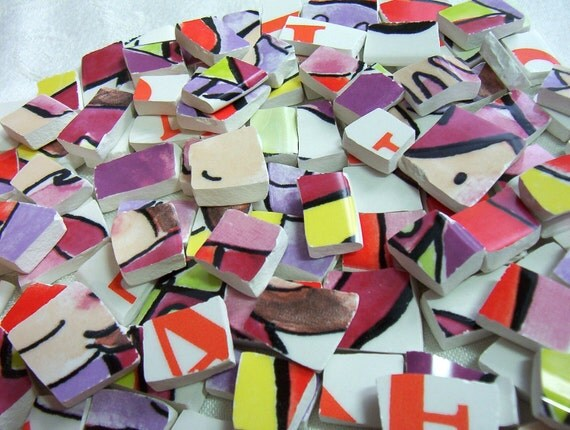 SALE - Mosaic Tiles Broken China - BRIGHT - COLORFUL Recycled Plates - Last Set