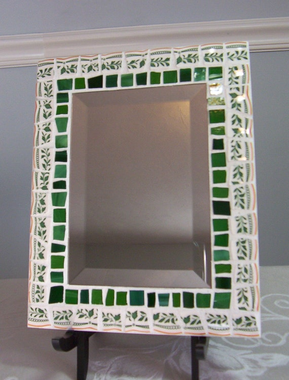 Mosaic Mirror Stained Glass Ivy Border Tiles - Beveled Edge Mirror