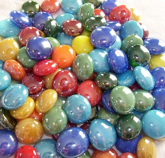 50 Glass Gems -Tropical Mix - Mosaic Supplies - Half Marbles