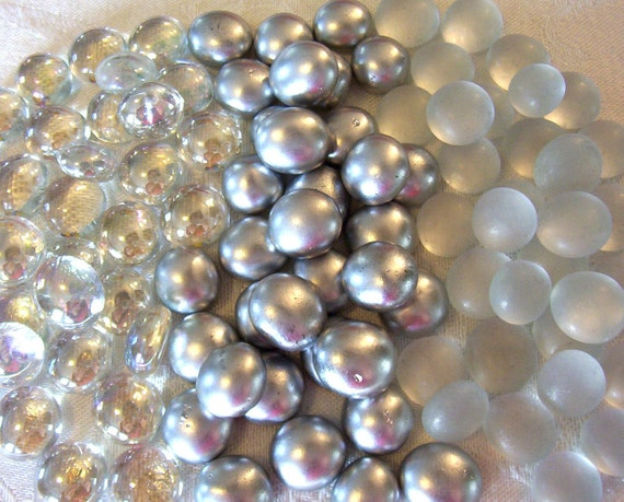 50 Mini Glass Gems - Silver Mix - Mosaic/Wedding/Floral Display Supplies - Half Marbles