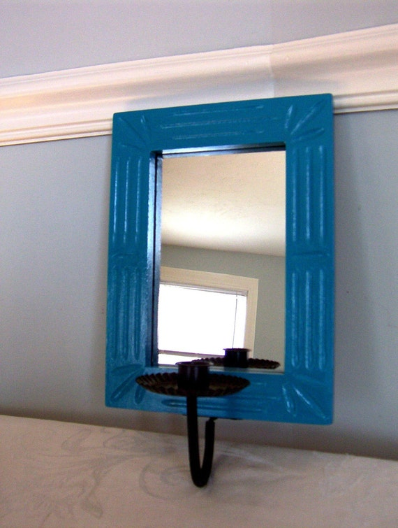 Turquoise Mirror - Candle Sconce - Art Deco Look