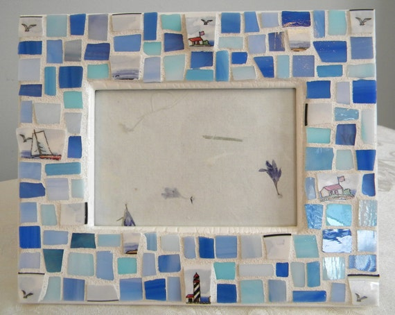 HAND MADE Nautical Mosaic Frame - Stained Glass and China Tiles