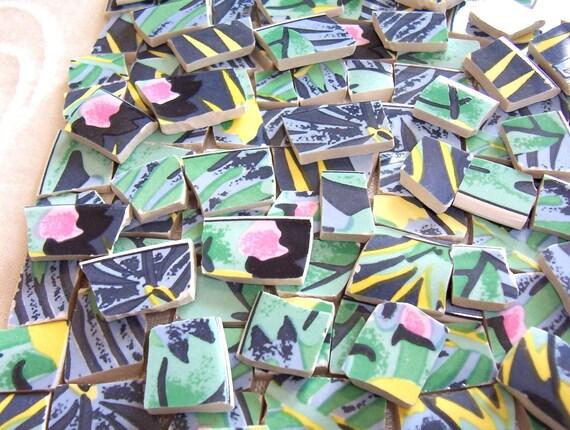 Broken China Mosaic Tiles Recycled Plates Tropical KEY LARGO