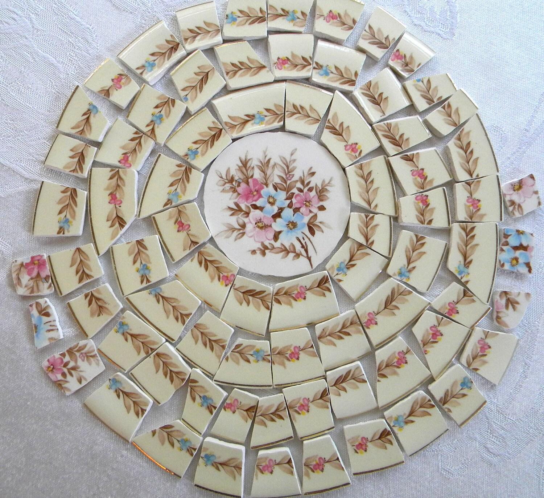 MOSAIC Tiles Broken Plates Lovely VINTAGE Steubenville China