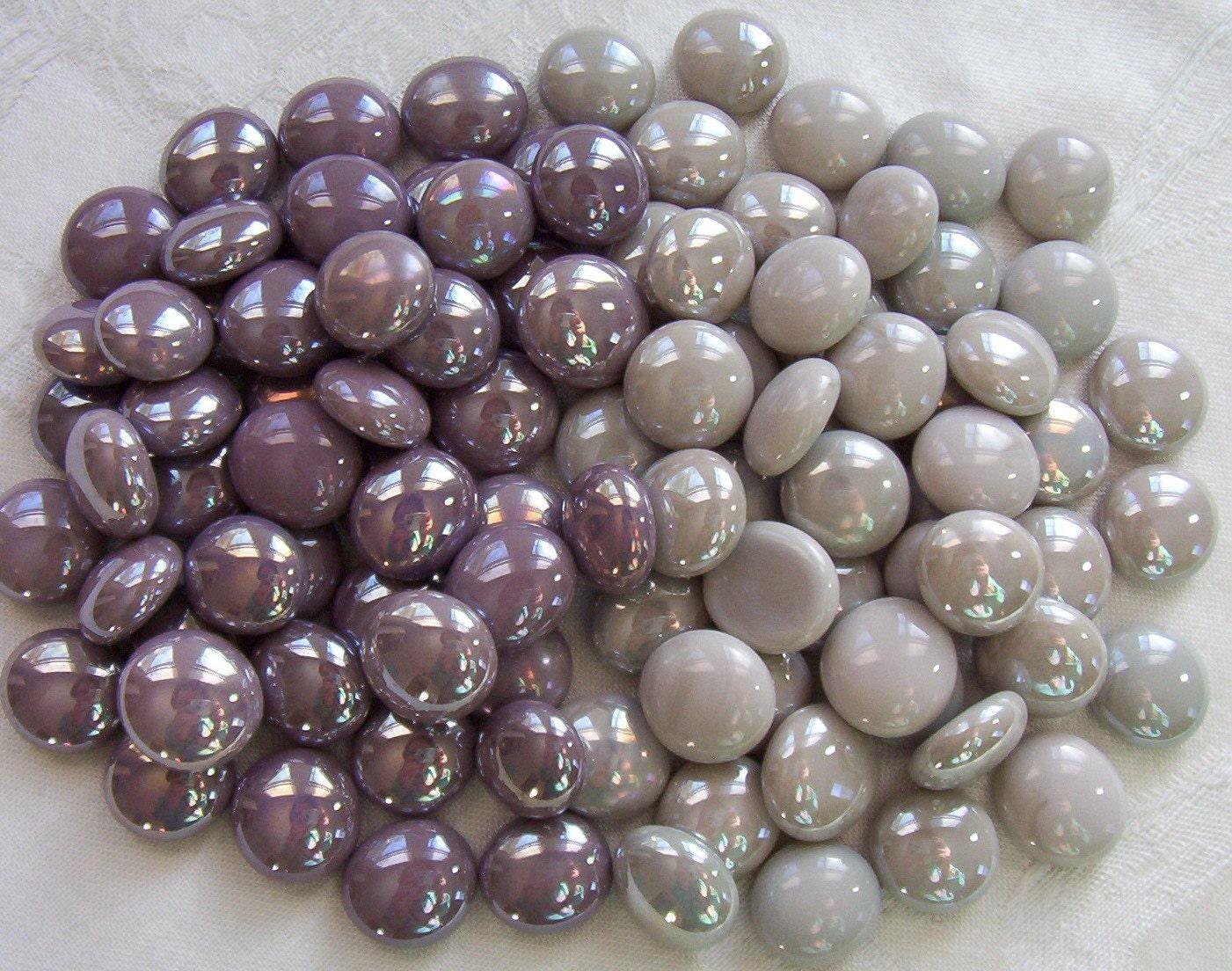 50 glass gems purple plum and gray mix