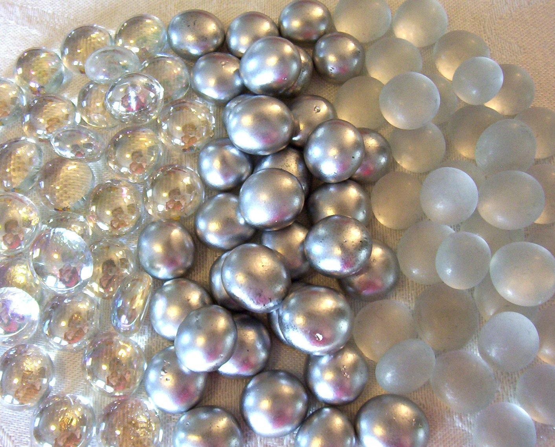 100 mini glass gems silver mix mosaic wedding floral
