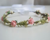 Woodland light coral floral and berry newborn halo headpiece