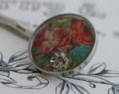 Handmade Bobby Pin with Victorian Floral Motive