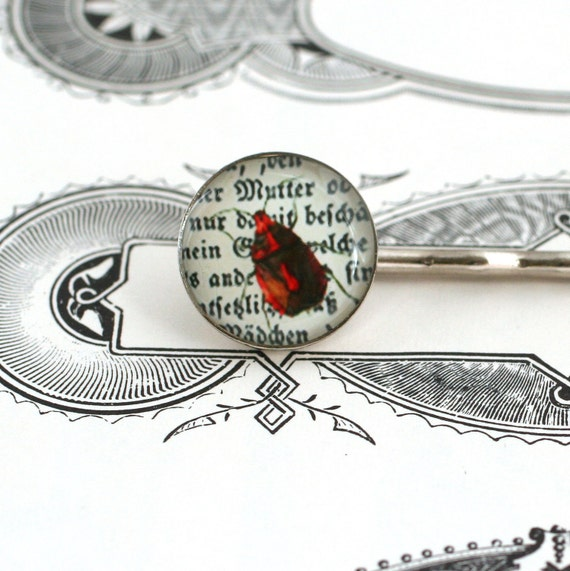 Handmade Hair Pin with Red Bug Illustration