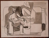 Cubist Commendante - Ink wash figure drawing - Original Art 12x15