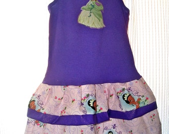 Princess Tiana Tank Top Dress READY to SHIP Size 3T other sizes available