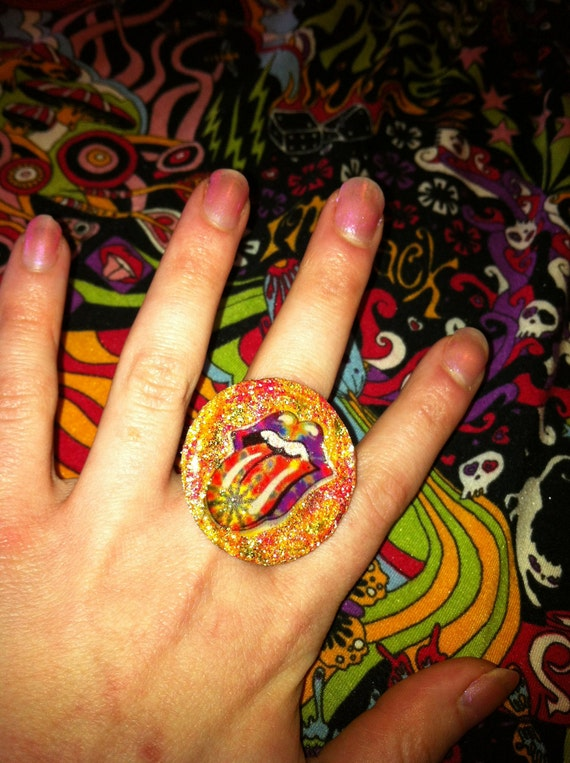 ROLLING STONES She's Like A Rainbow Glitter Resin Ring OOAK  Mick Jagger Keith Richards Brian Jones