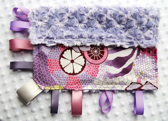 "Baby Girl 12"" x 12"" Cuddle Tag-Along Blanket - Purples, Pink, Rose, Burgundy, Gray Mosaics on Violet Rosette Minky"