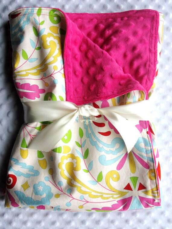"Baby Girl Large 35"" x 29"" Stroller Blanket in Bright n' Sassy Kumari Garden Sujata Pink, Yellow, Aqua, Red CHOOSE YOUR Minky Color"