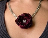 Burgundy Cloth Flower Necklace