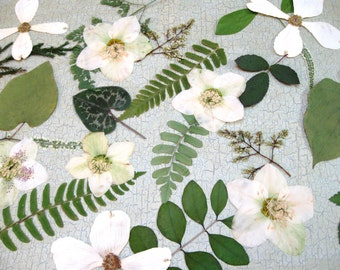 Wedding Table Flowers and Leaves. Woodland Wedding Leaves, Garden Wedding Floral Mix,  Green with White and Cream Accents, Qty. of 100