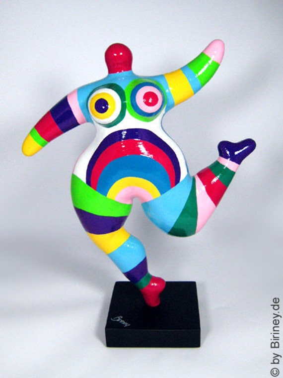 Colourfully painted NANA sculpture  - freely based on the Nanas by Niki de Saint Phalle / height 15.5 inches