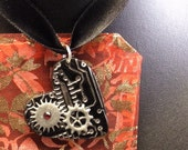 Goth Necklace: Heart Shaped Cyber Steam Punk Pendant