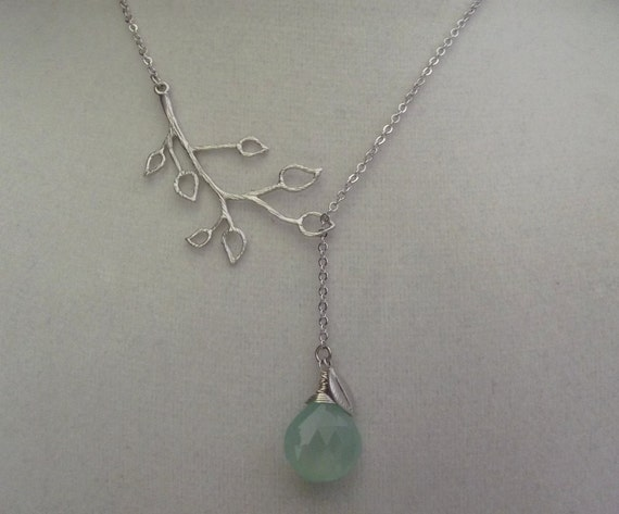 White Gold Branch with Aqua Chalcedony Gemstone and Leaf