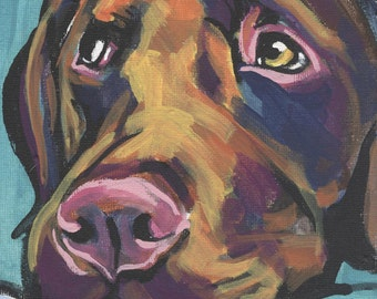 CHOCOLATE LAB Labrador Retriever Dog portrait art print of pop art painting 12x12""