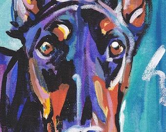"Doberman Pinscher art print dog pop art bright colors 8.5x11"" LEA"