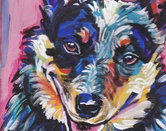 Australian Cattle Dog art print modern Dog art blue heeler pop dog art bright colors 8x8 inch