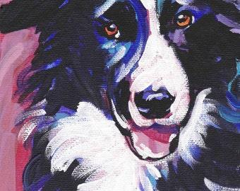 "Border Collie art print dog pop art bright colors 8.5x11"" LEA"