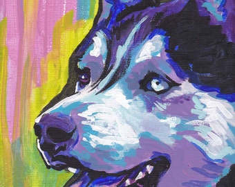 Siberian Husky art print pop dog art bright colors 13x19 by LEA