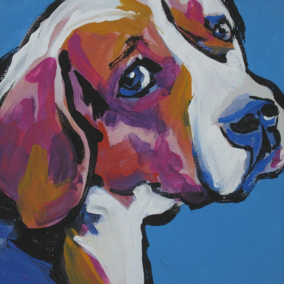 Beagle modern Dog art print pop dog art bright colors 12x12 inch