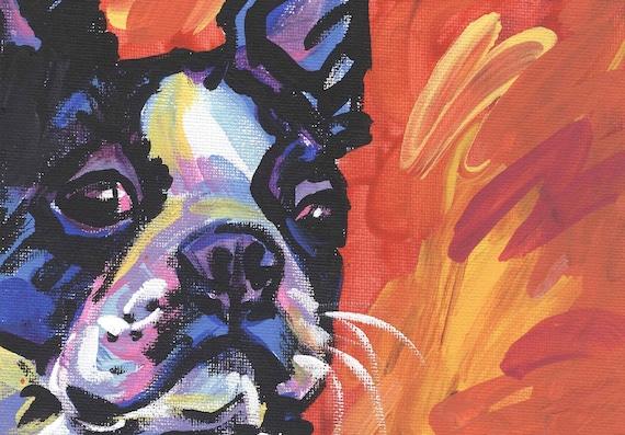 "Boston Terrier modern Dog art print pop dog art bright colors 13x19"" LEA"