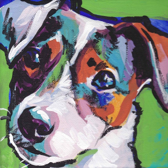 smooth JACK RUSSELL Terrier art print of pop art dog painting bright colors 12x12""