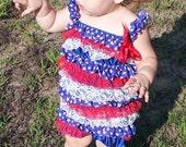 Ready to Ship - 4th of July Patriotic Satin and Lace Petti Romper With Straps And Bow Size Extra Large 3T-4T