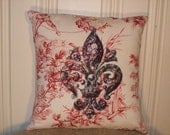 "shabby chic, feed sack, french country, vintage fleur de lis graphic on red and creme toile 14"" x 14"" pillow sham."
