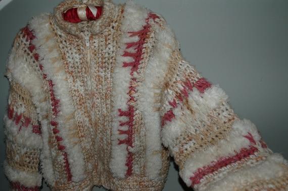 Jacket Sweater Vintage Le Sweater Hip -  Length Fringe Crocheted Coat